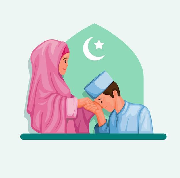 ラマダンのお祝いのイラストでイスラム教徒のフォンと母親