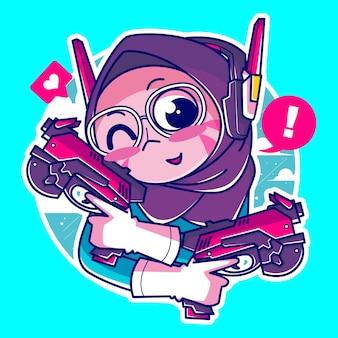 クールな銃とヘッドセットを持つイスラム教徒のゲーマーの女の子