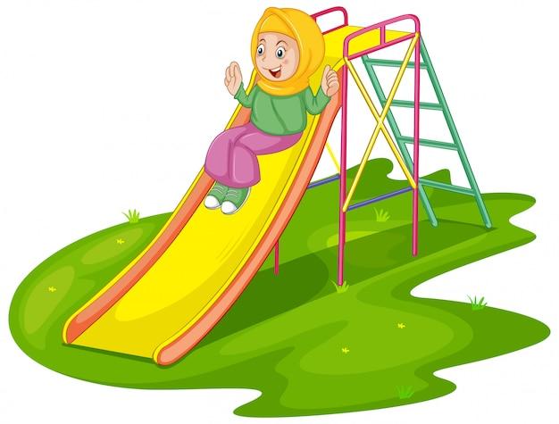 놀이터에서 무슬림 소녀