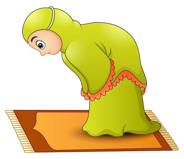 Muslim girl cartoon praying