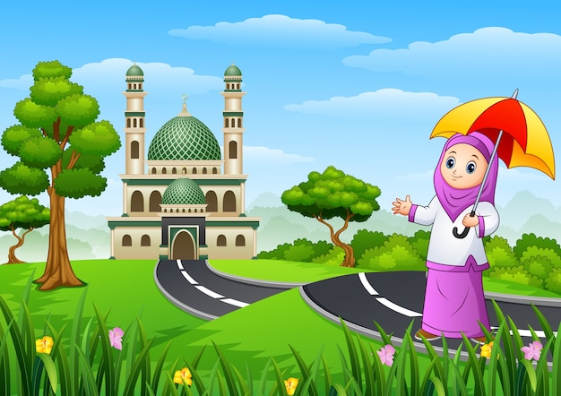 Muslim girl cartoon in the street to mosque