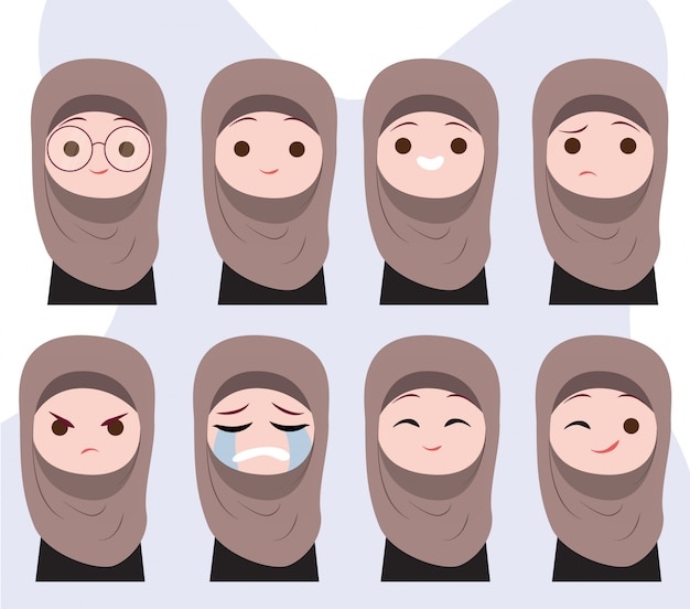 Muslim girl character emotions