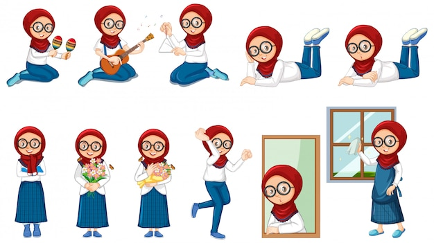 Muslim girl doing many activities on white