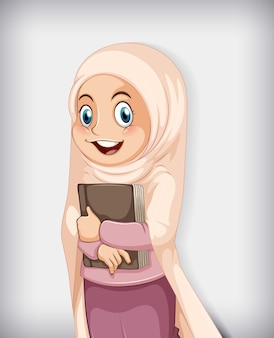 Muslim girl holding book