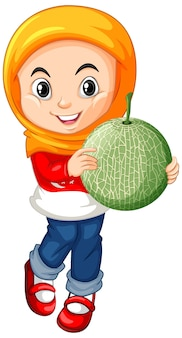 立った姿勢でメロン果実を保持しているイスラム教徒の少女