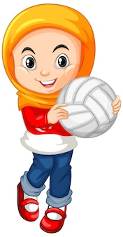 Muslim girl holding volleyball