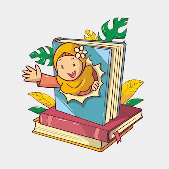 책 표지에서 벗어난 이슬람 소녀는 교육 주제가 있는 콘텐츠에 적합합니다.