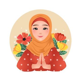 Мусульманская девушка рамадан карим приветствует позу, украшенную яркими цветами