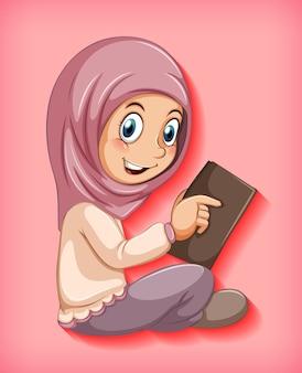 Muslim girl reading the book