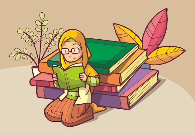 Muslim girl wearing glasses reading a book on a pile of books