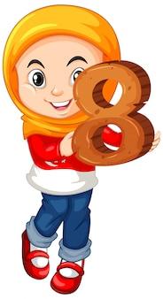 Muslim girl wearing hijab holding math number eight