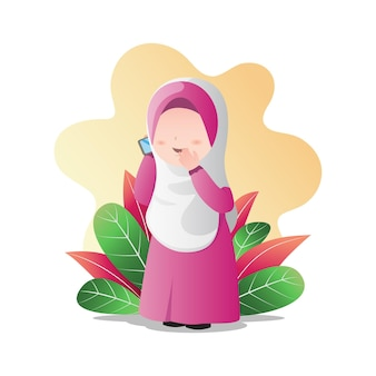 Muslim girl wearing hijab with phone in hand, calling and talking cartoon character.
