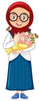 白の美しい花を持つイスラム教徒の少女