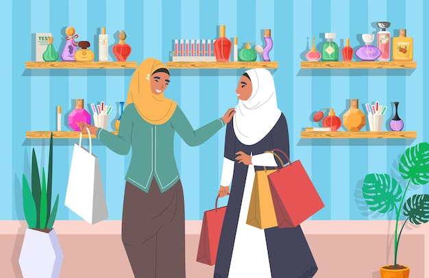 Muslim girls in perfume store flat vector illustration arab women in traditional clothing and hijab ...