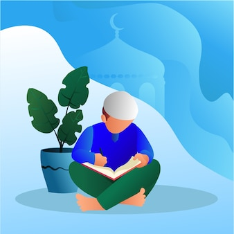 A muslim guy reading and writing illustration