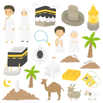 Muslim hajj and umrah, characters and landmarks illustration
