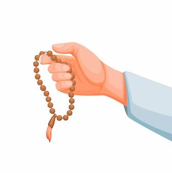 Muslim holding prayer beads aka tasbih counting tool for zikr in islam religion.