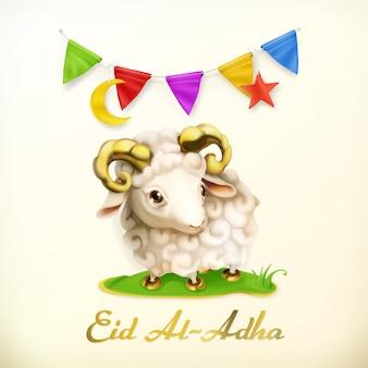 Мусульманский праздник ид аль-адха. исламская культура. открытка с овцами