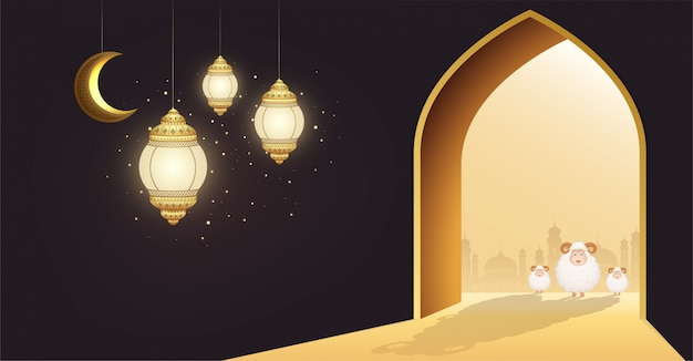 Muslim holiday eid al-adha. white sheep or sacrifice a ram at door of a mosque with crescent moon and glowing lanterns.