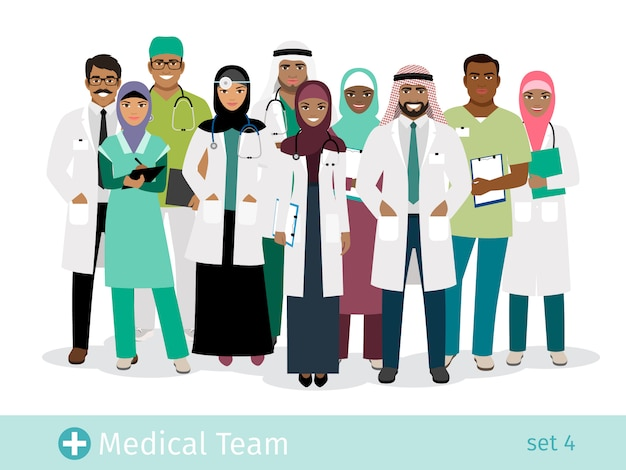 Muslim hospital team vector illustration. standing arabian physician and surgeon, arab woman nurse and man doctor