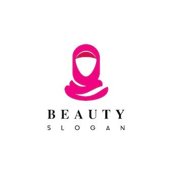 Hijab 뷰티 패션 로고 벡터에서 이슬람