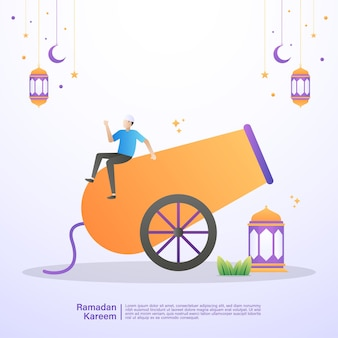 A muslim is happy to welcome the month of ramadan. illustration concept of ramadan kareem