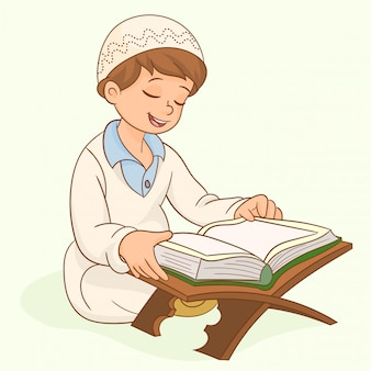 Muslim kid character reading quran