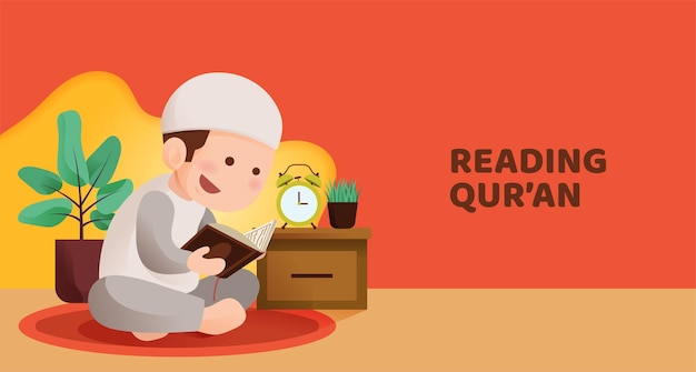 Muslim kid sit and reading quran with happy smile face, reciting holy book of islam