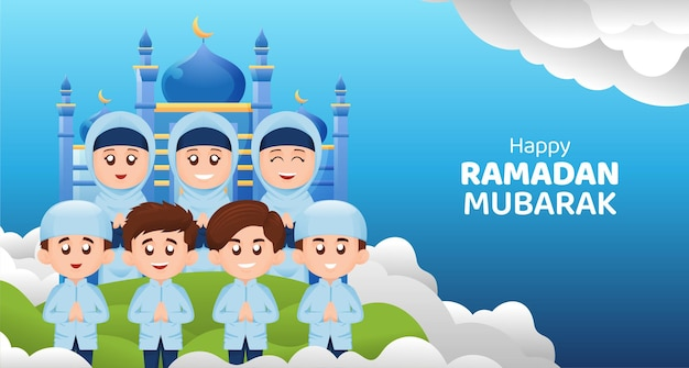Muslim kids boy and girl greeting ramadan kareem mubarak with happy smile illustration concept