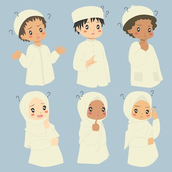 Muslim kids confused expressions   set