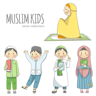 Muslim kids holding quran character vector collections