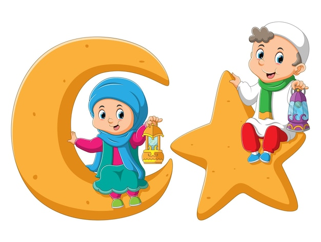 The muslim kids is holding the lantern sitting on the star and moon