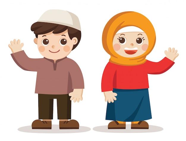 Мусульманские дети говорят привет. они выглядят счастливыми.