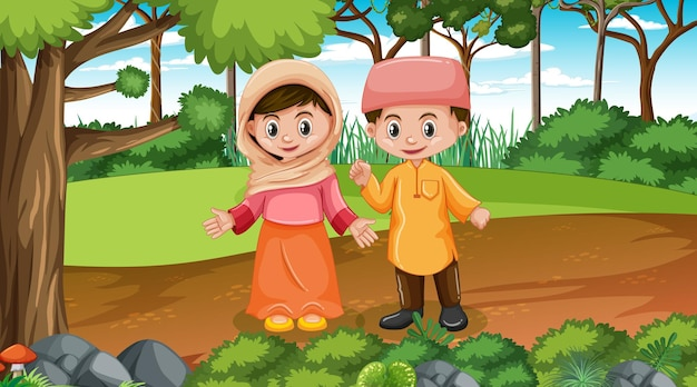 Muslim kids wears traditional clothes in the forest scene