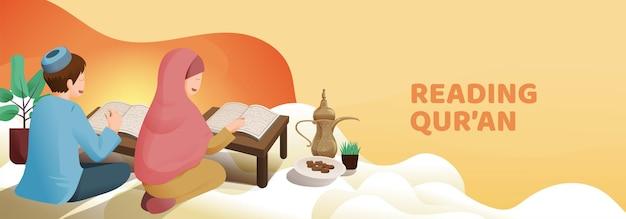 Мужчина и женщина-мусульманин, читающие коран или коран в священный месяц рамадан карим с изображением полумесяца и звезд