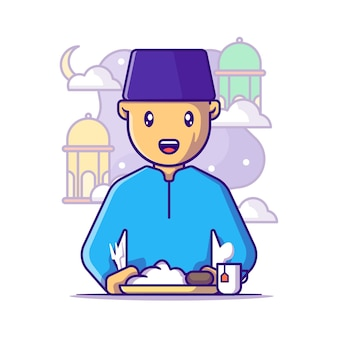 Muslim man to breaking the fast cartoon illustration