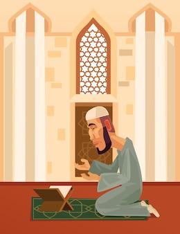 Muslim man character praying in mosque, flat cartoon illustration