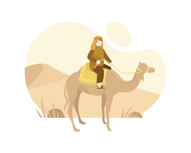 A muslim man from arab riding a camel in the middle of desert illustration