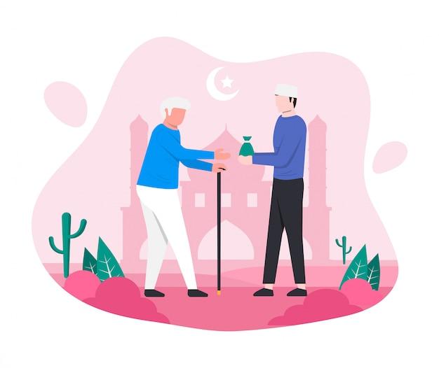 イスラム教徒の男性が老人のイラストに施しまたはザカートを与えます。