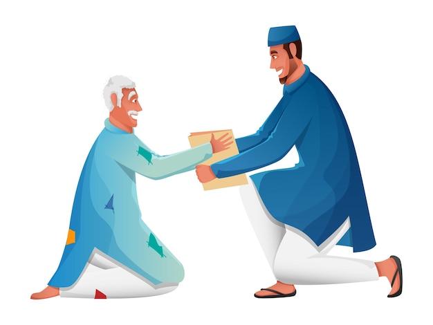 Мужчина-мусульманин делает пожертвование нищему на белом фоне