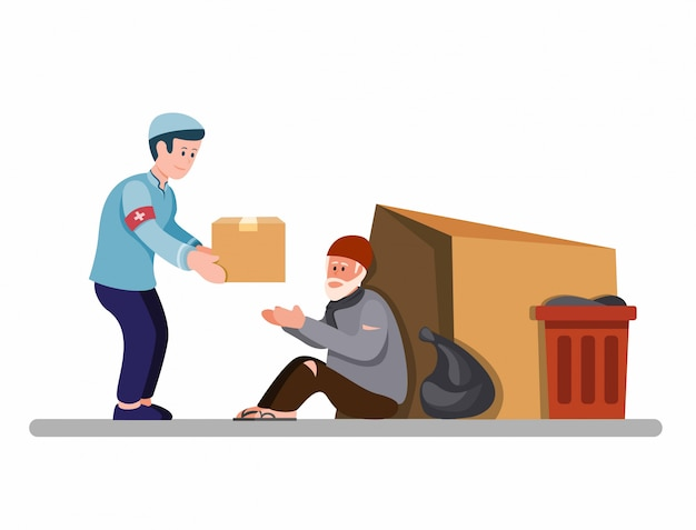 Muslim man giving food box to homeless people, activist support homeless person in cartoon flat illustration isolated in white background
