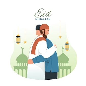 Muslim man hugging and wishing each other