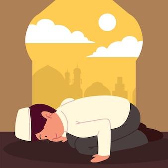 Мужчина-мусульманин в мечети молится аллаху