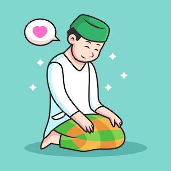 Muslim man praying to allah. icon illustration isolated
