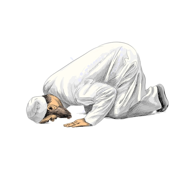 Muslim man praying, hand drawn sketch.  illustration of paints