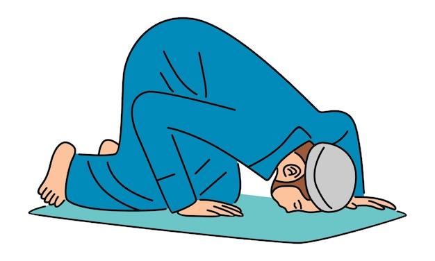 Мужчина-мусульманин молится в плоском дизайне