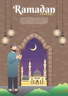 Мусульманин молится в мечети. религиозная и религиозная концепция.