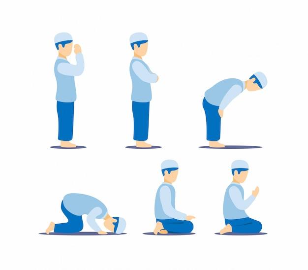 イスラム教徒の男がポジションステップガイドの指示記号、白い背景で隔離されたフラットの図に設定されたイスラムの宗教活動アイコンを祈って