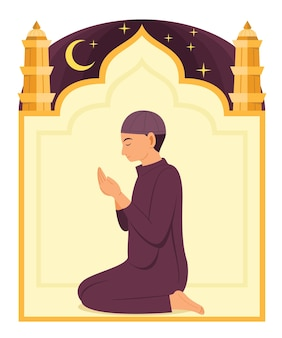 Мужчина-мусульманин молится богу и мечети иллюстрации