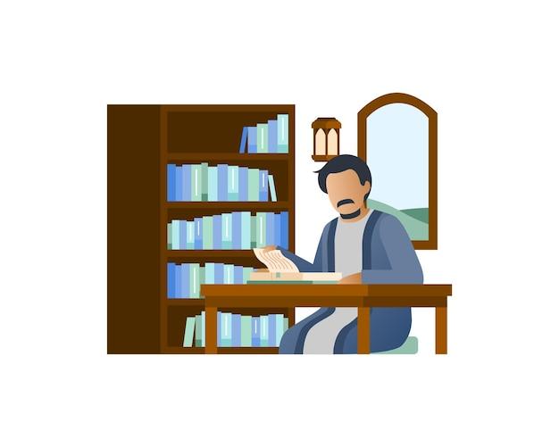 무슬림 남자는 그의 집에서 책을 읽고
